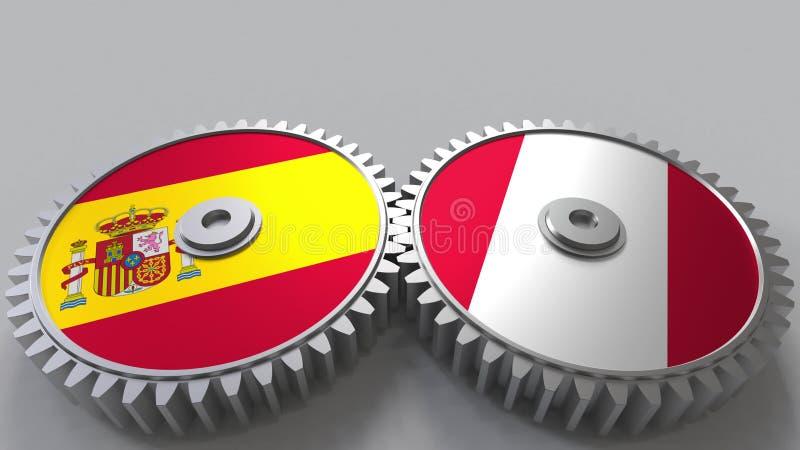 Bandeiras da Espanha e do Peru nas engrenagens de engrenagem Rendição 3D conceptual da cooperação internacional ilustração do vetor