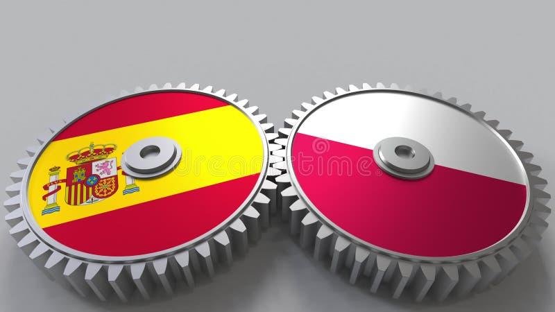 Bandeiras da Espanha e do Polônia nas engrenagens de engrenagem Rendição 3D conceptual da cooperação internacional ilustração stock