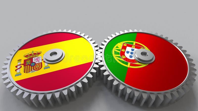 Bandeiras da Espanha e do Portugal nas engrenagens de engrenagem Rendição 3D conceptual da cooperação internacional ilustração do vetor