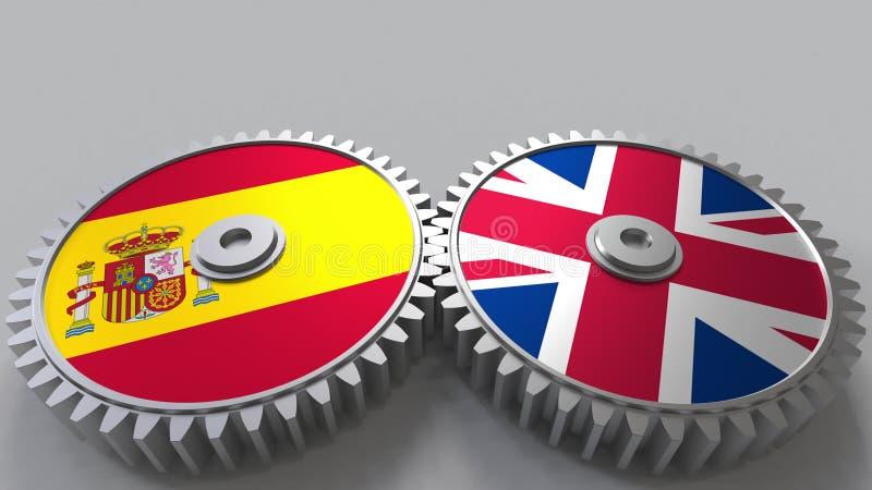 Bandeiras da Espanha e do Reino Unido nas engrenagens de engrenagem Rendição 3D conceptual da cooperação internacional ilustração royalty free