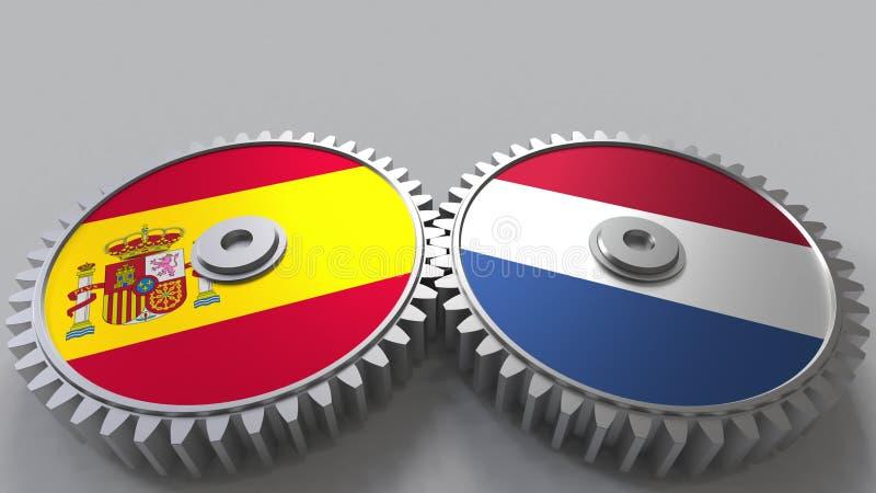 Bandeiras da Espanha e dos Países Baixos nas engrenagens de engrenagem Rendição 3D conceptual da cooperação internacional ilustração do vetor