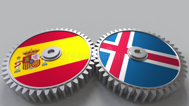 Bandeiras da Espanha e da Islândia nas engrenagens de engrenagem Rendição 3D conceptual da cooperação internacional ilustração royalty free
