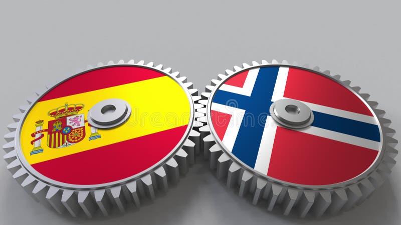 Bandeiras da Espanha e da Noruega nas engrenagens de engrenagem Rendição 3D conceptual da cooperação internacional ilustração royalty free