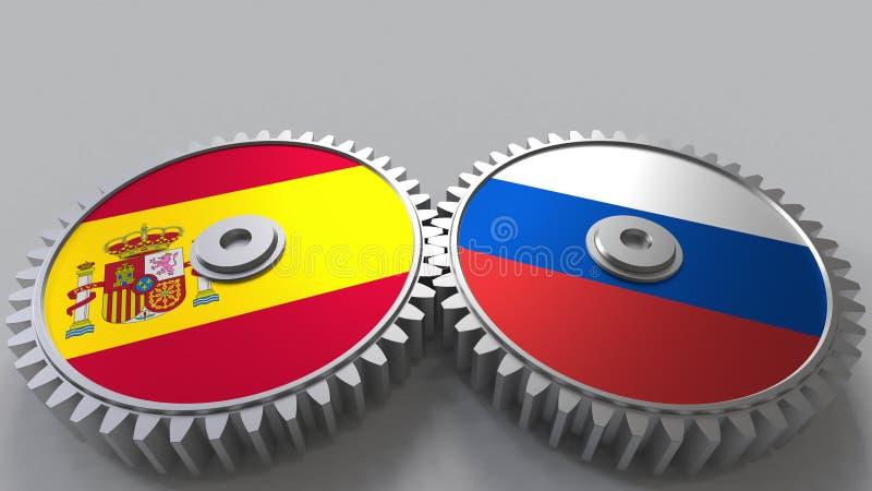 Bandeiras da Espanha e da Rússia nas engrenagens de engrenagem Rendição 3D conceptual da cooperação internacional ilustração royalty free