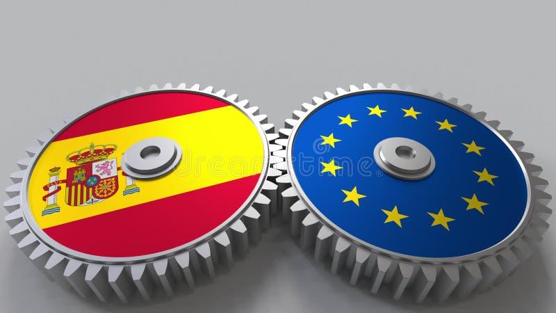 Bandeiras da Espanha e da União Europeia nas engrenagens de engrenagem Rendição 3D conceptual da cooperação internacional ilustração stock