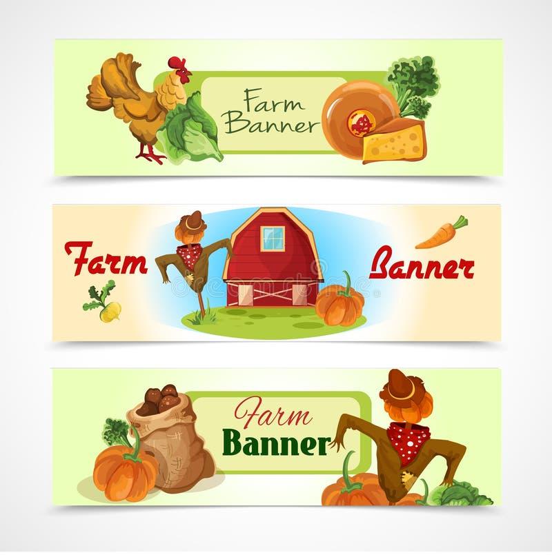 Bandeiras da exploração agrícola ajustadas ilustração stock