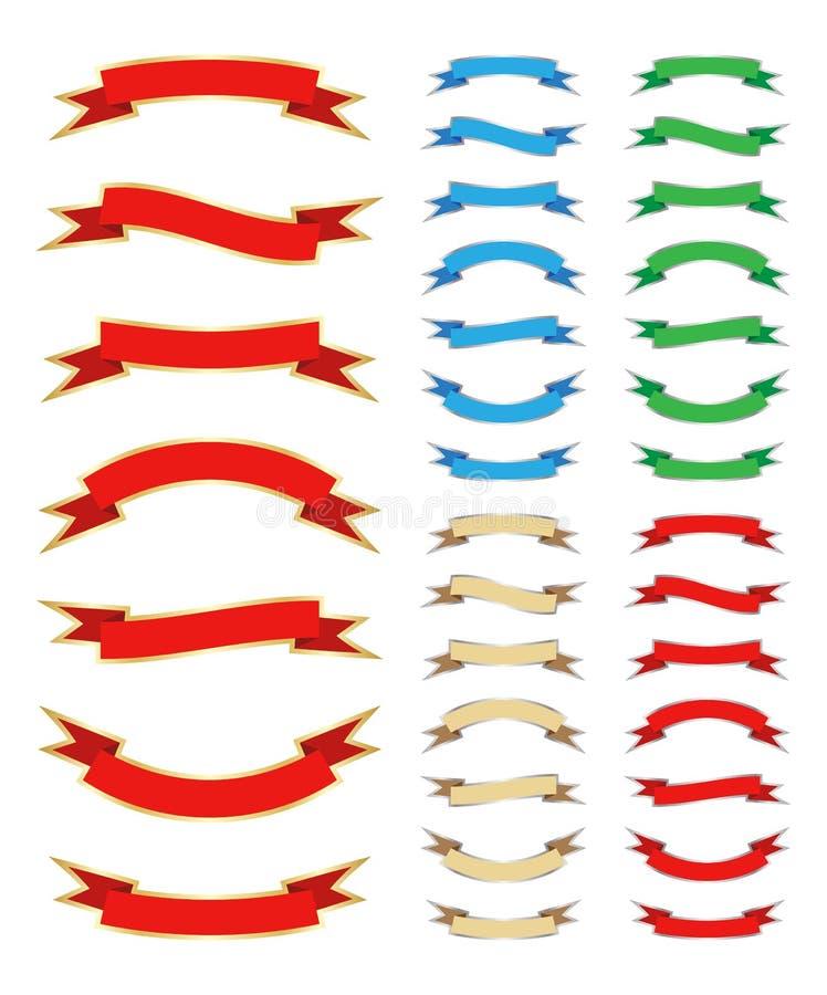 Bandeiras da fita ajustadas ilustração royalty free
