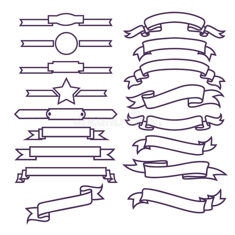 Bandeiras da fita ajustadas ilustração do vetor