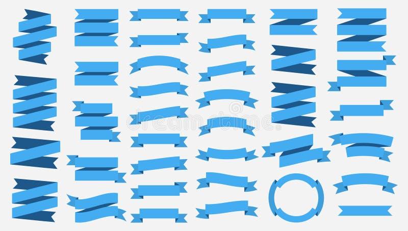 Bandeiras da fita do vetor isoladas no fundo branco Fitas azuis Ajuste de 37 bandeiras da fita azul ilustração stock