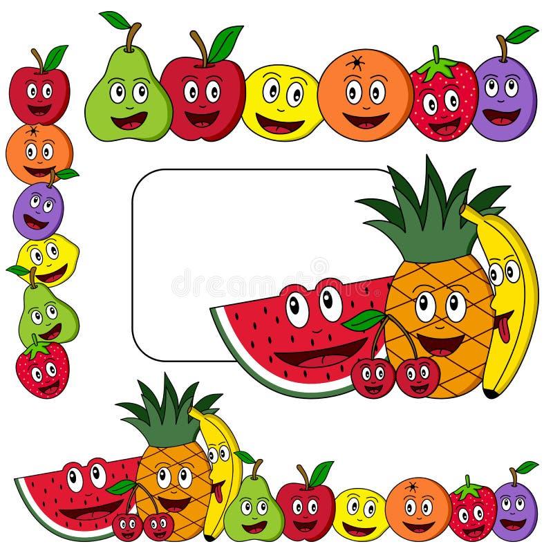 Bandeiras da fruta dos desenhos animados ilustração do vetor