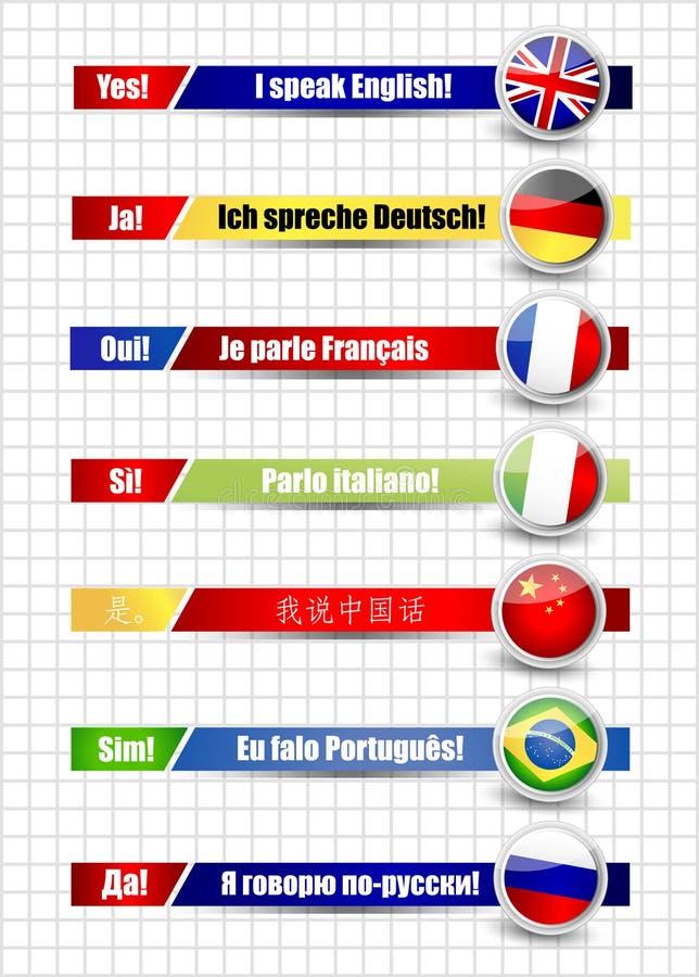 Bandeiras da língua ajustadas ilustração do vetor