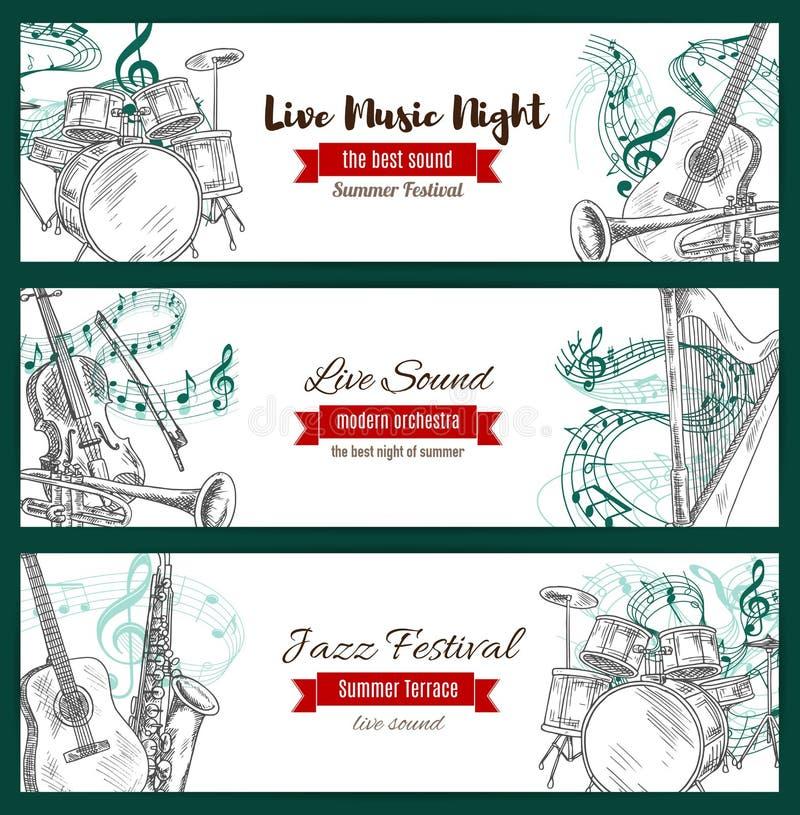 Bandeiras da música jazz do esboço dos instrumentos musicais ilustração do vetor