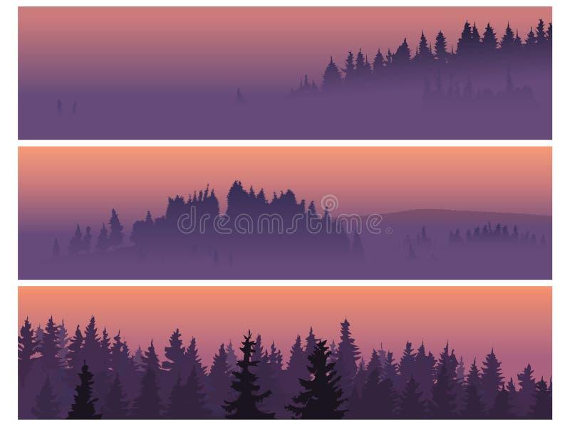 Bandeiras da madeira conífera em uma névoa. ilustração stock