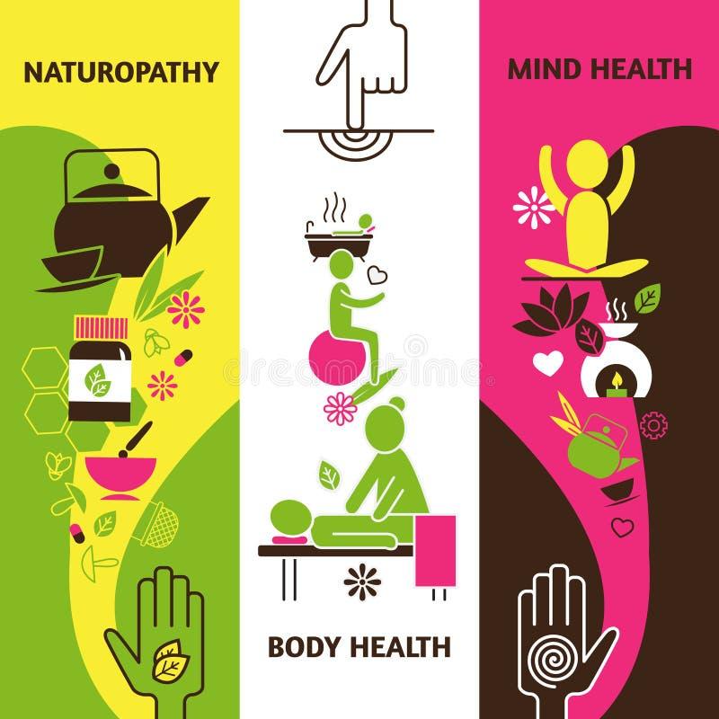 Bandeiras da medicina alternativa ajustadas ilustração do vetor