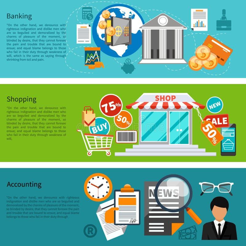 Bandeiras da operação bancária, da compra e da contabilidade ilustração do vetor