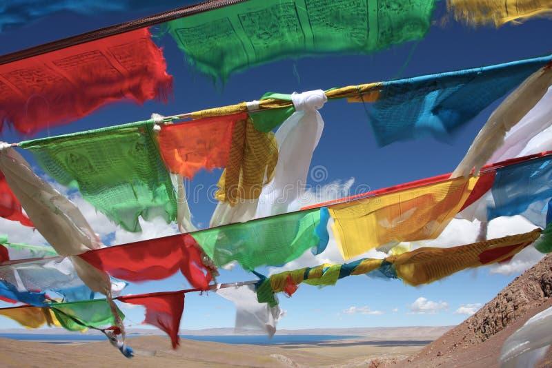 Bandeiras da oração em Tibet China foto de stock