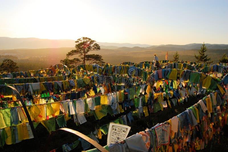 Bandeiras da oração no templo de Ivolginsky Datsan, Ulan Ude fotos de stock royalty free