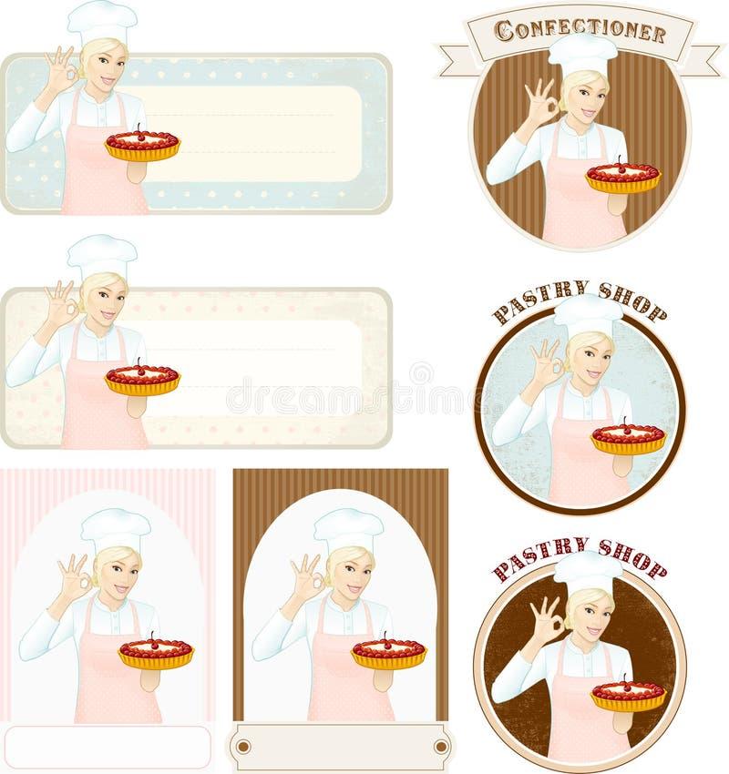 Bandeiras da pastelaria com o pasteleiro bonito da mulher com bolo ilustração royalty free