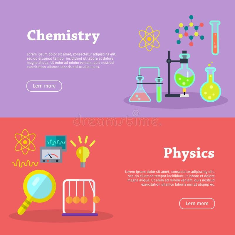 Bandeiras da química e da ciência da física ilustração do vetor