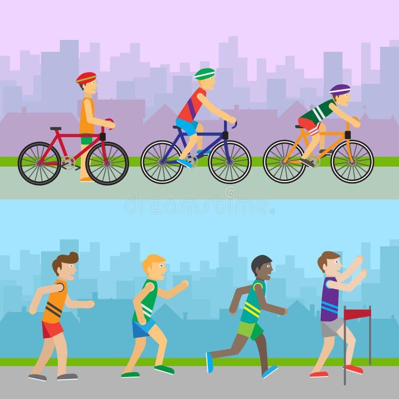 Bandeiras da recreação do esporte Competições diferentes ilustração stock