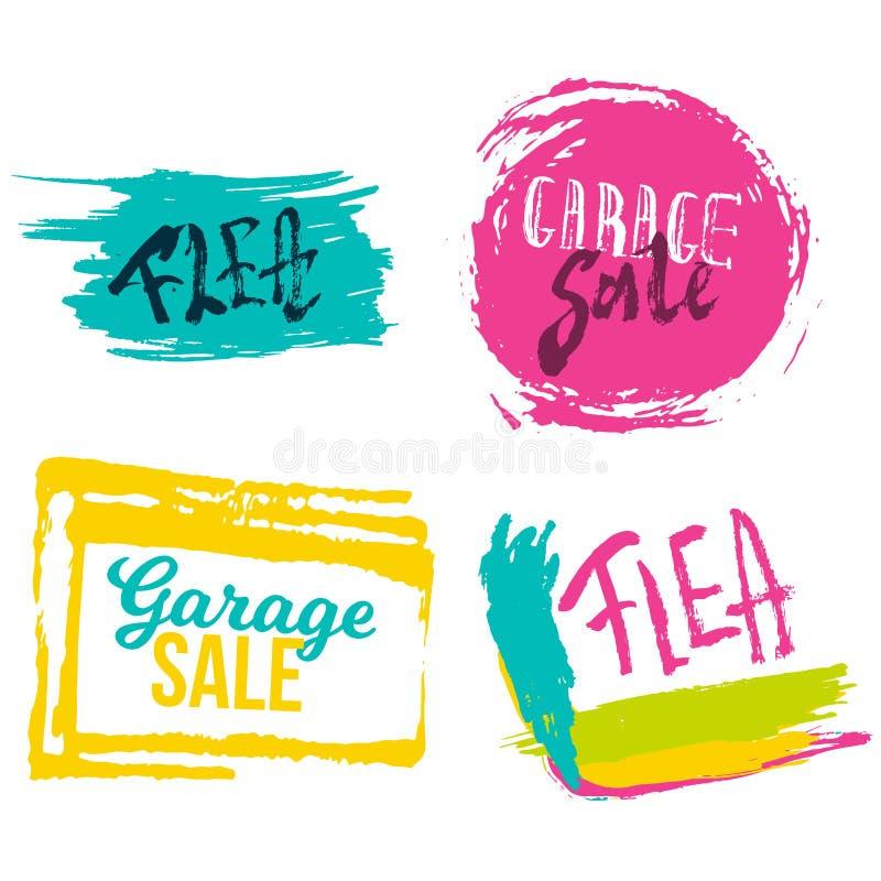 Bandeiras da rotulação da venda de garagem ajustadas com manchas coloridas Feira da ladra que anuncia a ilustração moderna ilustração stock