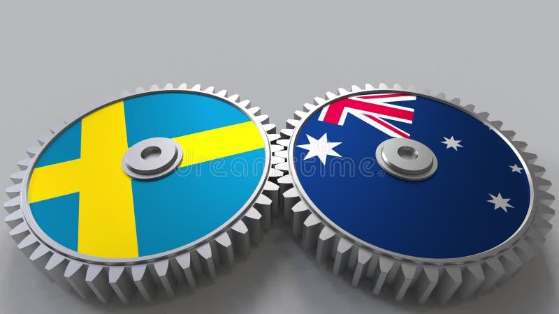 Bandeiras da Suécia e da Austrália nas engrenagens de engrenagem Rendição 3D conceptual da cooperação internacional ilustração royalty free