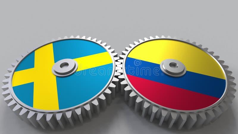 Bandeiras da Suécia e da Colômbia nas engrenagens de engrenagem Rendição 3D conceptual da cooperação internacional ilustração do vetor