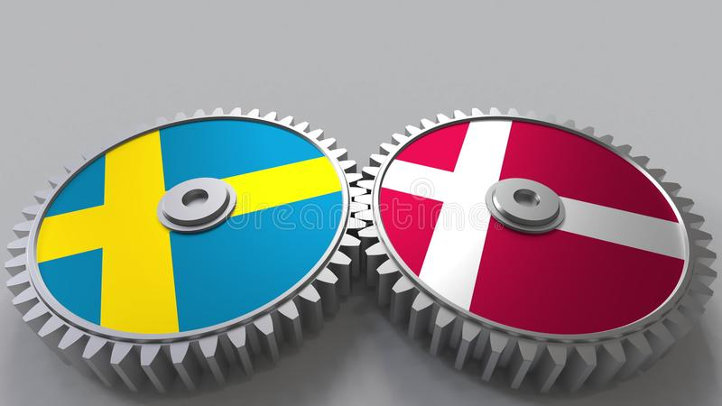 Bandeiras da Suécia e da Dinamarca nas engrenagens de engrenagem Rendição 3D conceptual da cooperação internacional ilustração do vetor