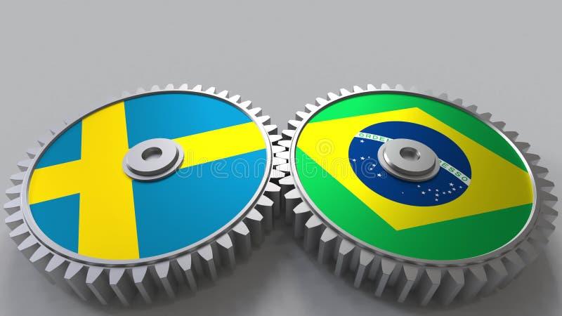 Bandeiras da Suécia e do Brasil nas engrenagens de engrenagem Rendição 3D conceptual da cooperação internacional ilustração royalty free