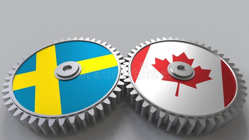 Bandeiras da Suécia e do Canadá nas engrenagens de engrenagem Rendição 3D conceptual da cooperação internacional ilustração do vetor