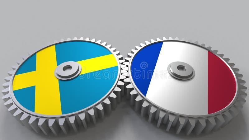 Bandeiras da Suécia e do França nas engrenagens de engrenagem Rendição 3D conceptual da cooperação internacional ilustração do vetor