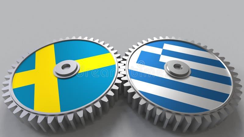 Bandeiras da Suécia e do Grécia nas engrenagens de engrenagem Rendição 3D conceptual da cooperação internacional ilustração stock
