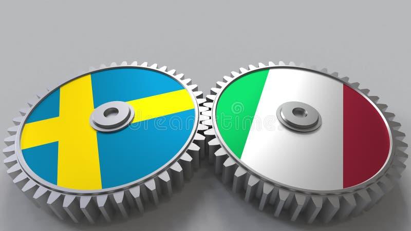 Bandeiras da Suécia e do Itália nas engrenagens de engrenagem Rendição 3D conceptual da cooperação internacional ilustração royalty free