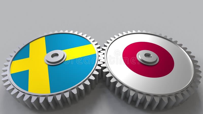 Bandeiras da Suécia e do Japão nas engrenagens de engrenagem Rendição 3D conceptual da cooperação internacional ilustração stock