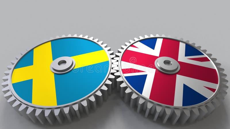 Bandeiras da Suécia e do Reino Unido nas engrenagens de engrenagem Rendição 3D conceptual da cooperação internacional ilustração royalty free