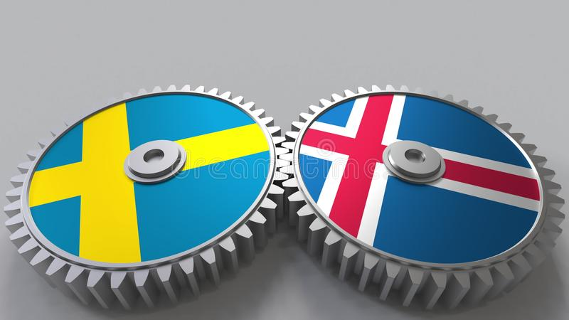 Bandeiras da Suécia e da Islândia nas engrenagens de engrenagem Rendição 3D conceptual da cooperação internacional ilustração do vetor