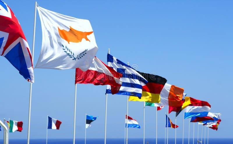 Bandeiras da UE fotos de stock
