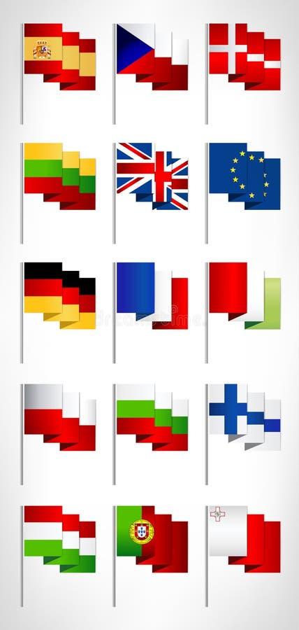 Bandeiras da UE ajustadas Mastros de bandeira do estilo dos desenhos animados, grupo 1 ilustração do vetor