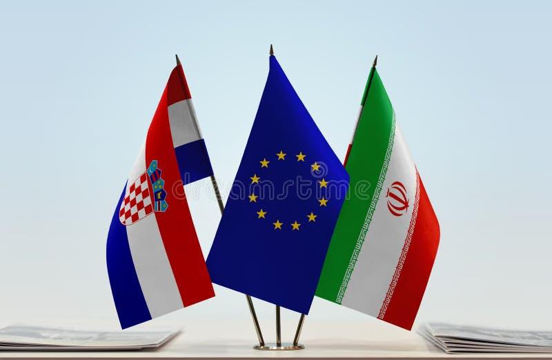 Bandeiras da UE da Croácia e do Irã foto de stock royalty free