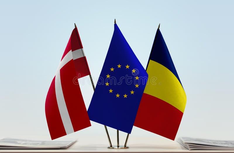 Bandeiras da UE de Dinamarca e do Chade imagem de stock royalty free