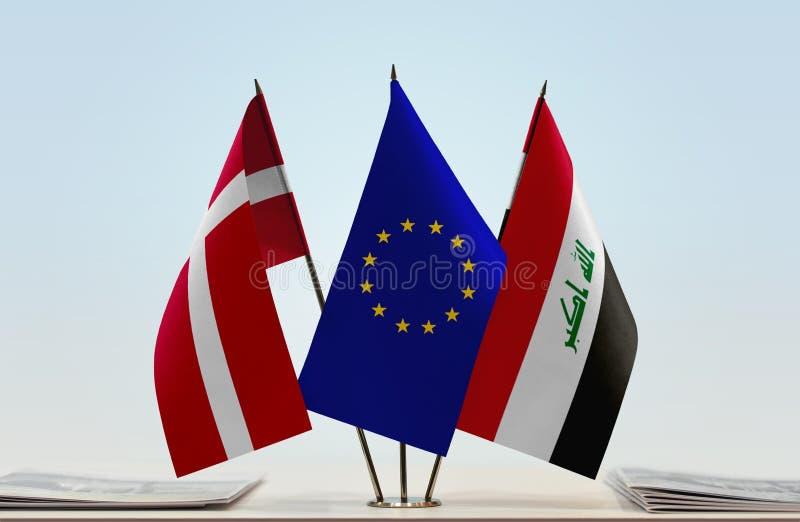 Bandeiras da UE de Dinamarca e do Iraque fotos de stock royalty free