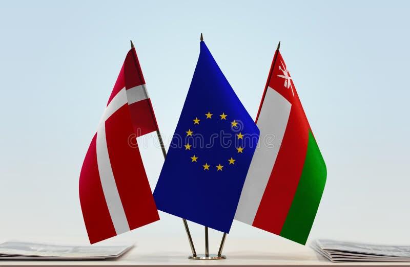Bandeiras da UE de Dinamarca e do Omã imagens de stock royalty free