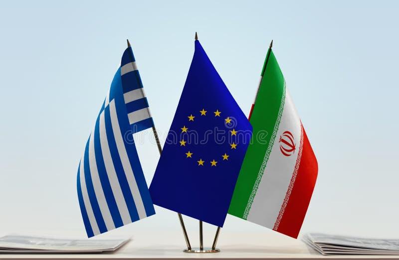 Bandeiras da UE de Grécia e do Irã fotos de stock royalty free