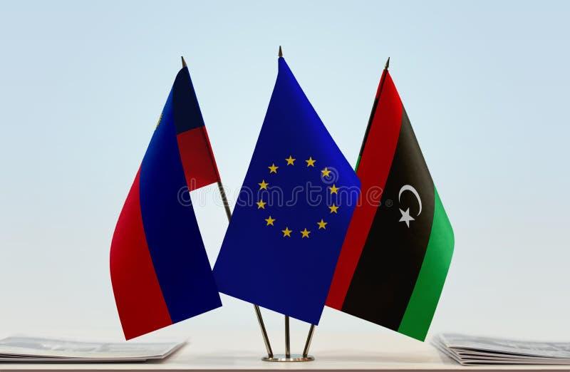 Bandeiras da UE de Liechtenstein e da Líbia imagem de stock