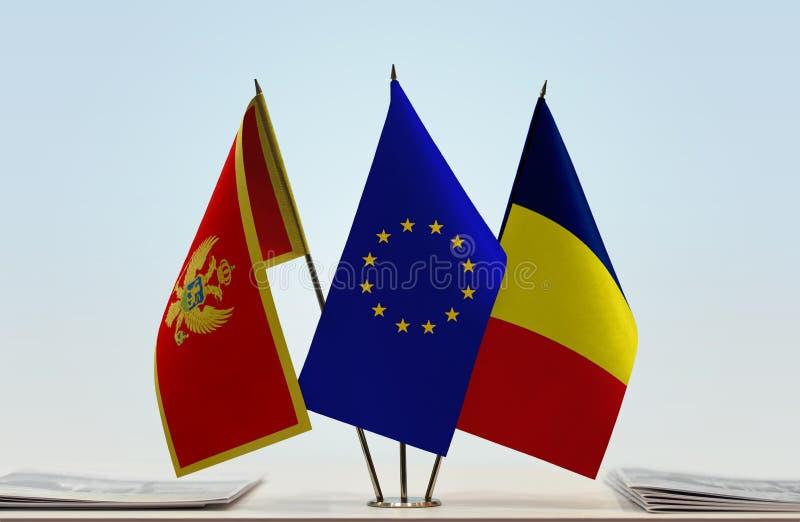 Bandeiras da UE de Montenegro e do Chade imagens de stock royalty free