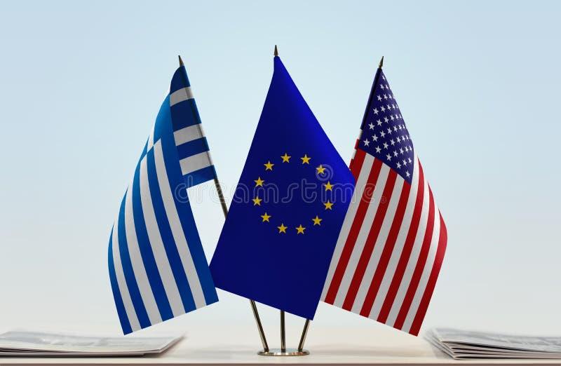 Bandeiras da UE e dos EUA de Grécia imagem de stock
