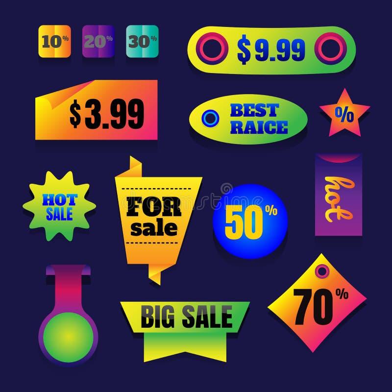 Bandeiras da venda do botão da venda, compra em linha da Web Grupo de pessoas a ilustração royalty free