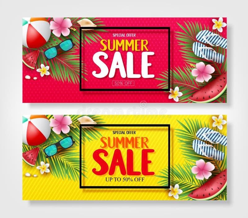 Bandeiras da venda do verão da oferta especial com folhas, flores, melancia, óculos de sol e deslizadores da palmeira no vermelho ilustração do vetor