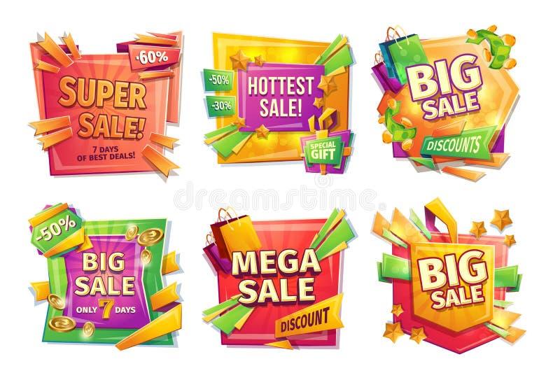 Bandeiras da venda dos desenhos animados, crachás, etiquetas, etiquetas ilustração stock