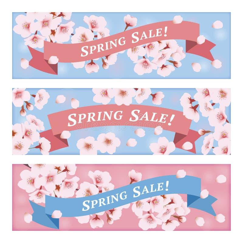 Bandeiras da venda da mola com flores de cerejeira ilustração royalty free